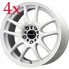 Drag Wheels DR-31 17x8 5x100 5x114 +47 White Rims For Stealth 3000GT DSM Eclipse