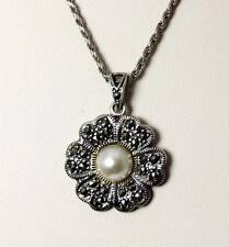 "Beautiful Sterling Silver Faux Pearl & Marcasite Flower Necklace 18"" - 4601"