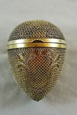 FABULOUS ANTIQUE SILVER FILIGREE AND GILT EGG SHAPED BOX C 1900'S