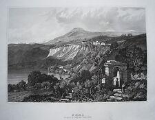Nemi latium Italien  Italia echter alter Stahlstich 1838