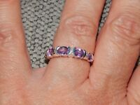 AMETHYST HALF BEXEL/STACKABLE RING-SIZE Q-1.250 CARATS-STERLING SILVER 925