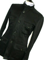 MENS GUCCI TOM FORD BLACK NEHRU COLLAR SUIT JACKET COAT BLAZER 40R EUR 50R