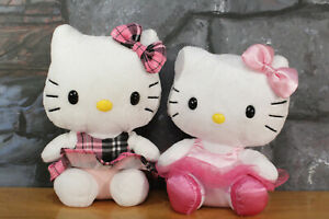 Lot of 2 TY Beanie Babies Hello Kitty - Dress Plaid PINK Plush Ballerina 2011
