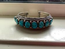 Vintage NATIVE AMERICAN  Silver Cuff with Turquoise
