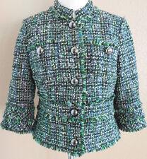 Eccoci Womens green black yellow tweed style wool jacket womens size 10