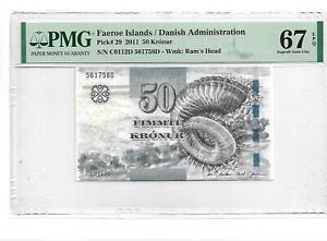 Faeroe Islands 50 KRONUR 2011 P 29 SUPERB GEM UNC PMG 67 EPQ