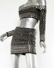 NORMA KAMALI Womens VINTAGE Black NICKEL-STUDDED Mini Skirt Crop Top Set S RARE