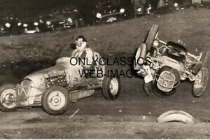 1948 PHOTO MIDGET SPRINT AUTO RACING CRASH SLINGER SPEEDWAY DIRT TRACK WISCONSIN