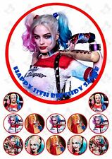 Harley Quinn 19cm PERSONALISED Edible Cake topper PLUS 12 cupcake toppers V2