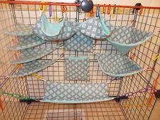 GRAY With AQUA SQUARES  Sugar Glider 11 pc cage set