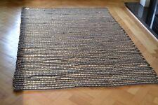 Brown Jute Rug Choco Chindi Cotton Stripe Handmade Knotted Dhurrie 180x120cm 6x4