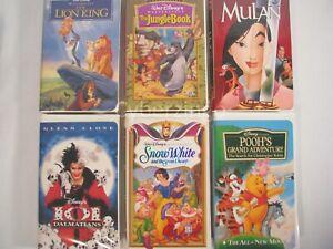 Lot of 6 Disney VHS Movies Pooh's Mulan Lion King Jungle Book Snow White 101 Dal