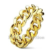 Unique FAMA Curb Chain Gold IP Stainless Steel Ring