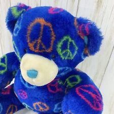 """Build A Bear Plush Peace Sign 15"""" Bright Blue Smiley Face Groovy Soft Bear Bab"""
