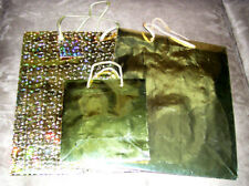 Lot of 3 Cleo Gold Foil Gift Bag Totes High Quality NEW