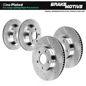 For Honda Pilot Ridgeline Front and Rear Drilled Slotted Brake Rotors