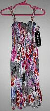 BO DA FA Blue MULTI-COLOR BUTTERFLY SUMMER DRESS NWT Girls SMALL NICE!