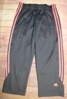 Adidas Brio 3 Pink Stripes Cropped Capri Pants Sweatpants Womens Small Gray