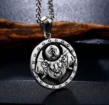 Edelstahl Anhänger Wikinger Krieger Amulett Rune Thor Mjölnir Odin Nordic NA50