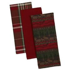 3 NWT DII 100% Cotton Red Green Brown PLAID Wilderness Bear Moose Kitchen TOWEL