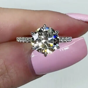 2.88 TCW Round Cut Moissanite 6-Prong Engagement Ring 14K White Gold Plated
