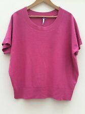 BHS Pink Top Knitted Knit Tshirt Round Neck Size 14 <Z12