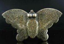 China Qing Dynasty 18th C bronze handcrafted/handcarved lady's butterfly ink box