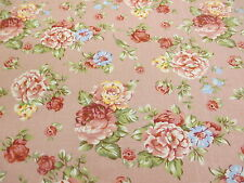 Rose Pink Vintage Flowers Printed 100% Cotton Canvas Fabric.