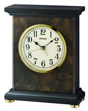 Seiko Analog Dark Brown Wooden Case Alarm Clock Watch Qxe056Blh