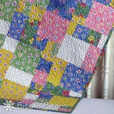 """Quilt, Sew, Fabric Kit CRAZY EIGHTS  38 """" x 45"""" using Pastel Blue/Yellow Prints"""
