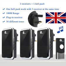 1Byone Wireless Plug-in DoorBell DIY Portable UK LED Home Chime With 3 Receivers