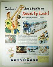 Vintage 1951 GREYHOUND BUS LINES Lg Full Pg Magazine Print Ad BASKETBALL, HOCKEY