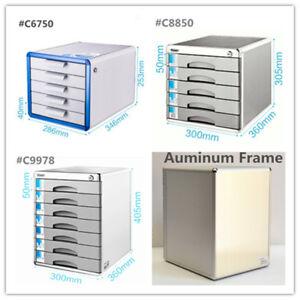 Deluxe Aluminum Frame Office Desktop Stationery Organizer A4 File Cabinet Drawer