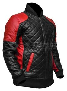 New Arrival - Mens Biker Quilted Motorcycle Leather Jacket, XXS-3XL