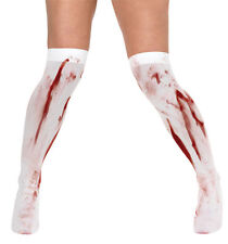 Blood Stained Stain White Stockings Halloween Fancy Dress Outfit Costume