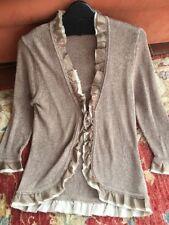 BODEN Linen Blend Cardigan Silk Trim Size 12 BNWOT