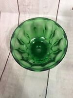 Vintage Antique Green Depression? Glass Holder Etched Jar Container Bowl Damaged