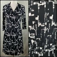 Coldwater Creek 6 Wrap Dress Jersey Knit Abstract Draped Stretch travel knit