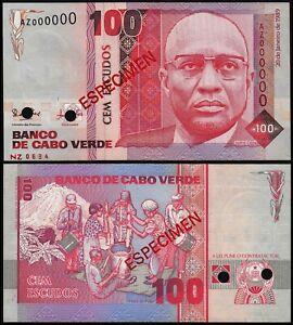 CAPE VERDA 100 ESCUDOS (P57s) 1989 SPECIMEN AZ 000000 UNC