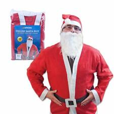 DELUXE SANTA COSTUME FATHER CHRISTMAS QUALITY ONE SIZE RED WHITE CLAUS SUIT