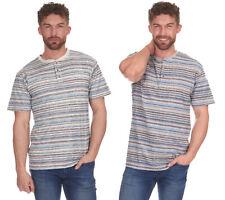 Nuevo Cargo Bay Rayas Henley Camiseta Hombre Manga Corta Elegante Top Idea Cheap
