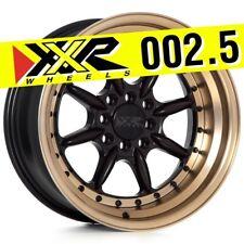 XXR 002.5 16x8 4-100/4-114.3 +0 FLAT BLACK BRONZE LIP WHEELS RIMS (Set of 4)