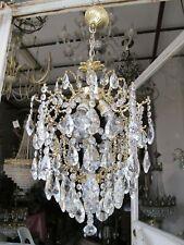 Antique French Big Cage Swarovski Crystal Chandelier Lamp Lustre 1940's 15in Ø