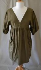 Isabel Marant Etoile Brown Olive Green V- Neck Short Sleeve Cotton Dress Size 0