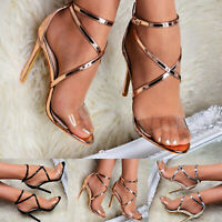 Ladies High Heel Barely There Clear Perspex Occasion Strappy Sandals Celeb Shoes