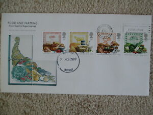 1989 FOOD & FARMING GPO FIRST DAY COVER WITH 'WILD ABOUT WORCESTERSHIRE' SLOGAN