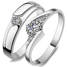 925 Silver Crystal Band CZ Couple Engagement Ring Adjuatable Jewelry 2Pcs Set