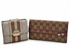 Authentic GUCCI GG Canvas Leather Wallet Brown White 2Set 91425