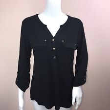 Charter Club Small Top NEW Black Roll Tab Sleeve Henley