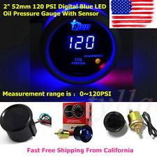 """2"""" 52mm 120 PSI Digital Blue LED Oil Pressure Gauge With Sensor Auto Car Motor"""